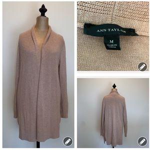 Ann Taylor Long open front cozy cardigan #3455